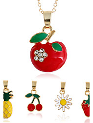 Lureme Lovely Enamel 5 Charms Summer Fruit Pendant Necklace Jewelry Set for Women and Girls