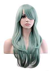 Women Synthetic Wig Capless Long Natural Wave Mint Green Natural Wig Costume Wigs
