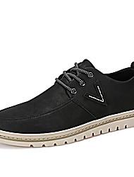 Для мужчин Туфли на шнуровке Удобная обувь Весна Осень Полиуретан Повседневные Шнуровка На плоской подошве Черный Темно-коричневый Хаки