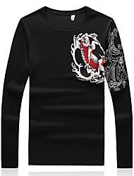 Для мужчин На каждый день Для клуба Большие размеры Винтаж Шинуазери (китайский стиль) Обычный Пуловер С принтом Контрастных цветов,