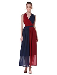ANGELL Women's Daily Sexy Simple Street chic A Line DressColor Block V Neck Maxi Sleeveless Chiffon DreesChest size can be adjusted