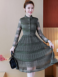 Women's Going out A Line Dress,Plaid Shirt Collar Midi Long Sleeves Polyester Spring High Rise Micro-elastic Medium