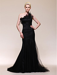 Mermaid / Trumpet One Shoulder Sweep / Brush Train Tulle Formal Evening Dress with Ruffles Side Draping by TS Couture®