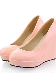 Women's Wedding Shoes Comfort PU Spring Summer Casual Blushing Pink Beige Black White 4in-4 3/4in