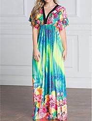 Courte Gaine Robe Femme Décontracté / Quotidien simple,Imprimé Arc-en-ciel Col en V Maxi Manches Courtes Coton Eté Taille Haute