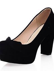 Damen Schuhe PU Sommer Komfort High Heels Plateau Runde Zehe Mit Für Normal Schwarz Rot Blau