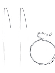Women's Drop Earrings Bracelet Fashion Simple Style Costume Jewelry Sterling Silver For Party Daily Date Wedding Gifts