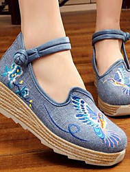 Women's Wedding Shoes Comfort Fabric Spring Casual Comfort Blue Ruby Black 2in-2 3/4in