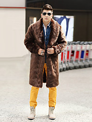 Men's Casual/Daily Work Simple Winter Fur Coat Solid Shawl Lapel Long Sleeve Long Fox Fur Raccoon Fur White/Black/Brown Warm
