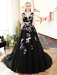Princess V-neck Court Train Satin Tulle Rehearsal Dinner Formal Evening Dress with Side Draping Bandage Embroidered by QZ