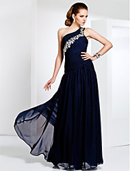 Sheath / Column One Shoulder Floor Length Chiffon Evening Dress by TS Couture®