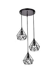 Vintage Black Metal Polygon pyramide lampe pendentif avec 3 lumières, chandelier, salon, salle à manger, luminaires