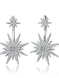 Жен. Серьги-слезки Стразы Геометрический Multi-Wear способы Pоскошные ювелирные изделия Простой стиль Классика Стразы Серебрянное покрытие