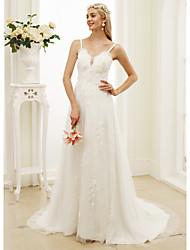 Corte en A Princesa Tirantes Spaghetti Corte Encaje Tul Vestido de novia con Apliques Flor(es) por LAN TING BRIDE®