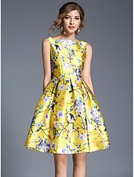 Damen Skater Kleid-Festtage Ausgehen Lässig/Alltäglich Einfach Street Schick Blumen Rundhalsausschnitt Knielang Ärmellos Polyester