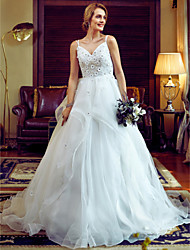 Ball Gown Spaghetti Straps Chapel Train Organza Wedding Dress with Beading Flower(s) by LAN TING BRIDE®