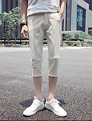 Men's Low Rise Micro-elastic Chinos Pants,Simple Straight Solid