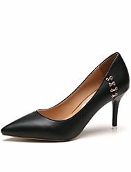 Women's Heels Formal Shoes Fall PU Walking Shoes Dress Party & Evening Stiletto Heel Black Beige Khaki 3in-3 3/4in