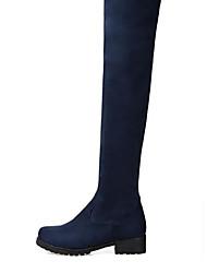 Для женщин Обувь Полиуретан Осень Зима Удобная обувь Ботинки На толстом каблуке Круглый носок С Назначение Повседневные Черный Синий Вино