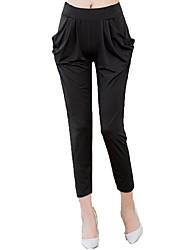 Mujer Sencillo Tiro Bajo Microelástico Chinos Pantalones,Pantalones Harén Un Color Plisado