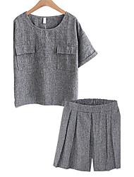 Для женщин Большие размеры На каждый день Лето Как у футболки Брюки Костюмы Круглый вырез,Простой Однотонный С короткими рукавами