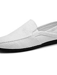 Herren Loafers & Slip-Ons Mokassin Leinen Frühling Herbst Normal Walking Flacher Absatz Weiß Schwarz Beige 5 - 7 cm