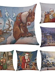Set of 6 Happy Christmas Series Linen Cushion Cover Home Office Sofa Square Pillow Case Decorative Cushion Covers Pillowcases (18*18Inch)