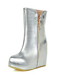 Feminino Botas Botas de Neve Botas da Moda Courino Inverno Casual Social Ziper Anabela Plataforma Dourado Prata 10 a 12 cm