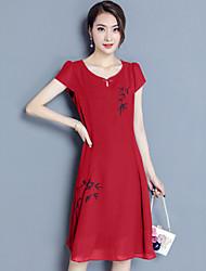 Ample Mousseline de Soie Balançoire Robe Femme Sortie Décontracté / Quotidien Grandes Tailles Vintage Chinoiserie,Imprimé Col Arrondi