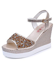 Damen Sandalen Pumps PU Sommer Normal Gold Silber 5 - 7 cm