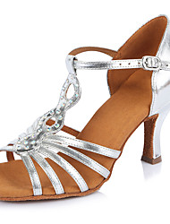 2017 Classic Brand Modern Latin Sandals Customizable Women's Dance Shoes  Heel-Height 6.5CM shoes Leather Silver
