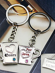 Material Keychain Favors-6 Pairs/Set  Cups key Ring  Favors Personalized Silver