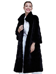 Women's Casual/Daily Simple Fall Winter Fur Coat,Solid Stand Long Sleeve Long Fox Fur Rex Rabbit Fur