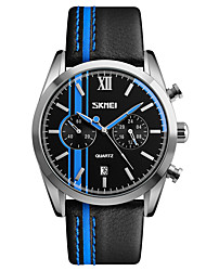 Skmei® Men's Dress Leather Strap Quartz Wrist Watch 30m Waterproof Assorted Colors