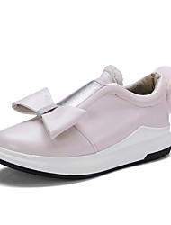 Для женщин Кеды Удобная обувь Светодиодные подошвы Весна Осень Дерматин Повседневные На низком каблуке Черный Розовый и белый Менее 2,5 см