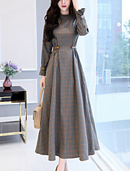 Women's Party Going out Simple Slim Swing Dress Check Patchwork Stand Maxi Long Sleeves Cotton Polyester Fall Winter High Waist
