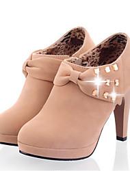 Damen Schuhe PU Winter Modische Stiefel Stiefel Stöckelabsatz Booties / Stiefeletten Mit Für Normal Schwarz Grau Khaki
