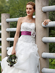 Ball Gown Strapless Sweep / Brush Train Organza Taffeta Wedding Dress with Pick Up Skirt Sashes/ Ribbons by LAN TING BRIDE®
