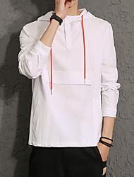 Men's Plus Size Casual Simple Solid Color Hooded Sweatshirt Cotton Spandex