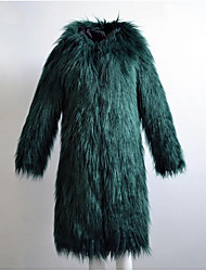 Women's Casual/Daily Simple Fall Winter Fur Coat,Solid Hooded Long Sleeve Long Fox Fur