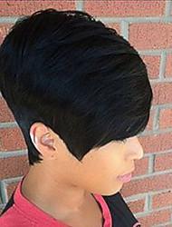 Small Fresh Fashion  Oblique Fringe Black Short  Human Hair Wigs