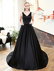 A-Line V-neck Court Train Satin Mikado Rehearsal Dinner Formal Evening Dress with by QZ