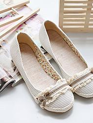 Damen Schuhe PU Frühling Komfort Flache Schuhe Flacher Absatz Runde Zehe Mit Für Normal Weiß Schwarz Leicht Rosa