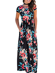 Women's Holiday Going out Club Sexy Vintage Boho Sheath DressFloral Camellia Round Neck Maxi Short Sleeve Slim Pocket Spring Summer High Rise