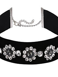 Women's Choker Necklaces Rhinestone Flower Alloy Sexy Fashion Adjustable Floral Jewelry For Party Stage Formal Holiday