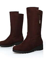 Women's Boots Comfort Nubuck leather Winter Casual Coffee Black 2in-2 3/4in