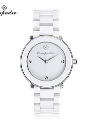 Муж. Жен. Модные часы Кварцевый Керамика Группа Повседневная Элегантные часы Черный Белый Розовый