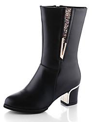 Damen Stiefel Walking Springerstiefel Echtes Leder Herbst Normal Reißverschluss Blockabsatz Schwarz Burgund 5 - 7 cm