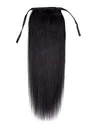 16inch женщин верхнего качества новый клип-in шнур -ponytail прямой рост человеческих волос 80g