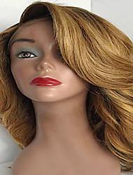 Mujer Pelucas de Cabello Natural Remy Encaje Frontal Frontal sin Pegamento 130% 150% 180% Densidad Ondulado Peluca Negro Azabache Negro